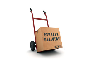 express delivery - scatolone su carrello
