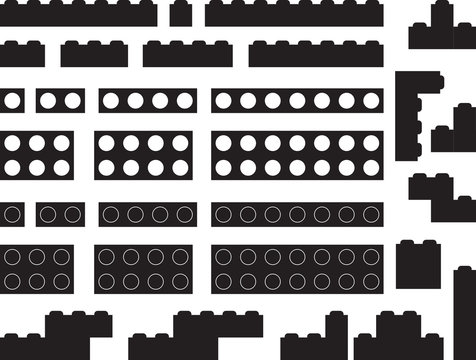Lego pieces illustrated on white