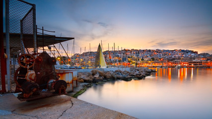 Old winch in Mikrolimano marina in Piraeus, Athens.