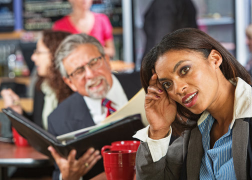 Woman Ignoring Business Man