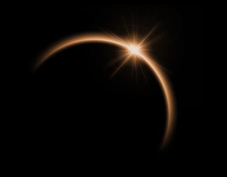 Solar eclipse in orange color