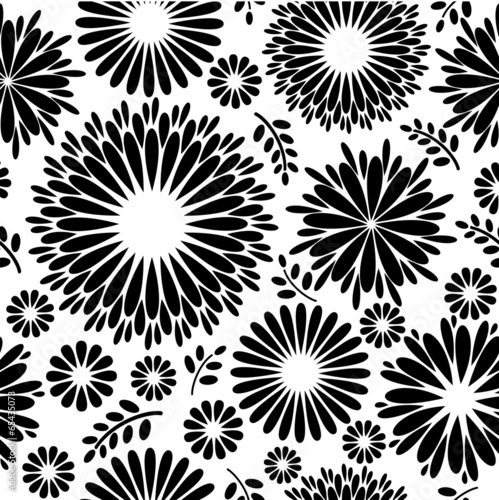 Vintage Black White Floral Background Seamless Pattern