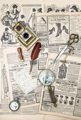 antique accessories and vintage fashion magazine