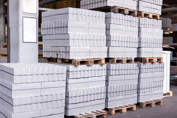 Cement building blocks stacked on pallets