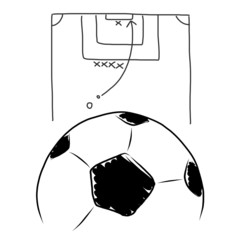 Strategy soccer free kick , hand draw on white