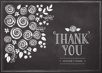 Vintage thankful card with a floral background. Chalkboard style