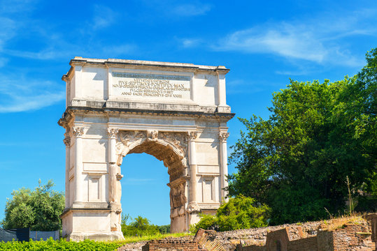 Arch of Titus in ancient Roman Forum, Rome, Italy