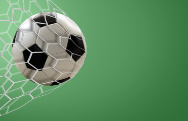 Amazing soccer goal on green background