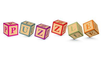 Word PUZZLE written with alphabet blocks