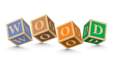 Word WOOD written with alphabet blocks
