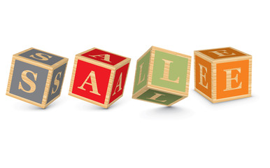 Word SALE written with alphabet blocks