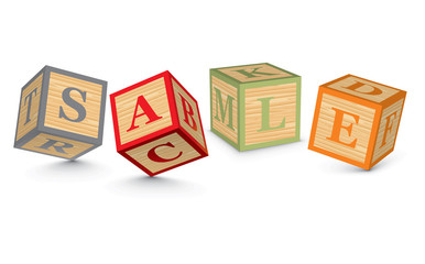Word SALE written with alphabet blocks