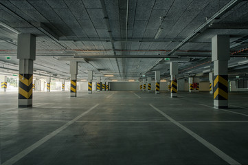 Empty underground parking as a background with copy space