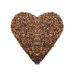 Coffee background  in the shape of heart