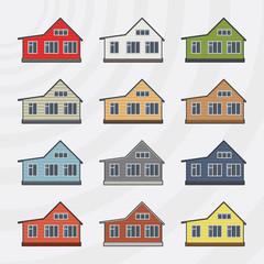 Townhouses icon set.