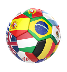 3D football soccer ball with nations teams flags