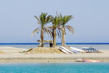 Foto auf AluDibond Strand Surfboards at the Red Sea Beach,Egipt