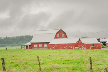 Red Barn During a Heavy Rainstorm