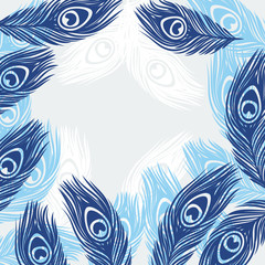 Design background with hand drawn feathers peacock.