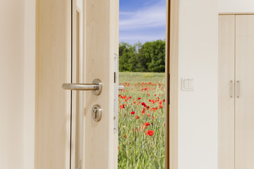 offene Tür mit Blick in die Natur