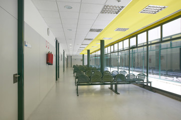 Modern building waiting area with seats