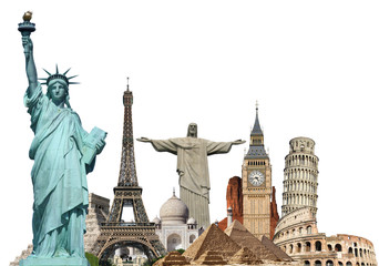 Fotomurales - Travel the world monuments plane concept