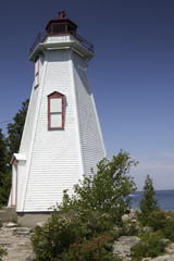 Low angle view of a lighthouse, Big Tub Lighthouse, Manitoulin