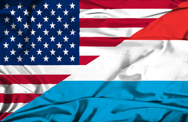 Waving flag of Luxembourg and USA