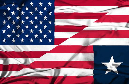 Waving flag of Liberia and USA