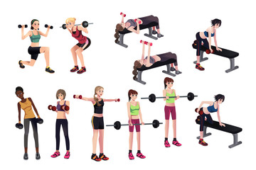 Women exercises with weights