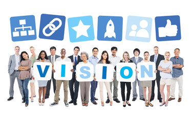 Multi-Ethnic Group Of Business People with Vision Concept
