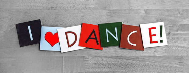Wall Murals Dance School I Love Dance, sign series for dancing and the arts.