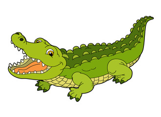 Cartoon animal - crocodile - flat coloring style