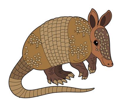 Cartoon animal - armadillo - flat coloring style