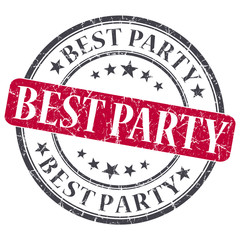 best party red round grungy stamp isolated on white background