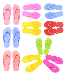 Colorful flip-flops collage isolated on white