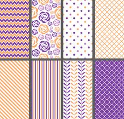 Purple & Orange seamless patterns