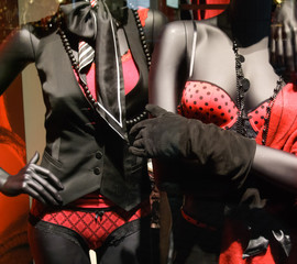 Mannequins wearing lingerie in a clothing store