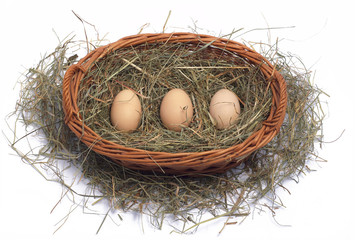 Three organic eggs in a wicker basket on the hay
