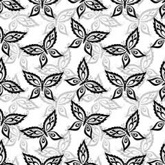 Seamless background, butterflies contours