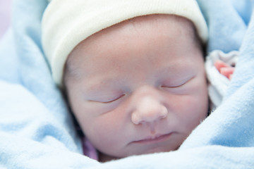 Close-up of a newborn baby sleeping