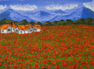 Meadow with red poppies, oil painting