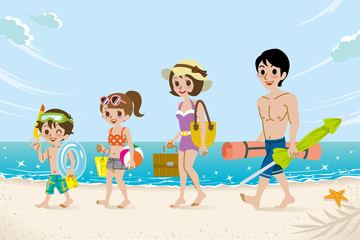 Swimsuits family in the Beach