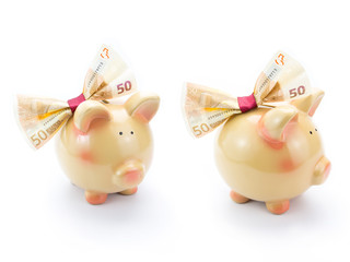 Two cute piggy banks with a banknote bow isolated