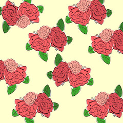 Illustration of hand drawn vintage roses pattern