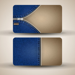 Business card template from cardboard and denim