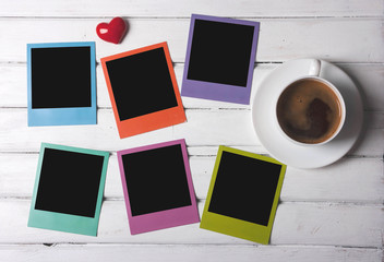 Morning coffee and colorful frames
