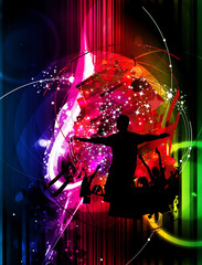 Dancing people - editable background for poster