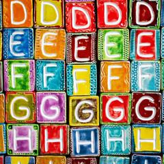 Handmade ceramic alphabet background