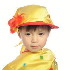 Little boy in russian traditional folk clothes